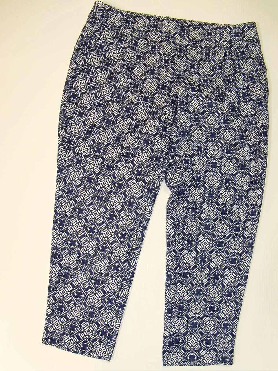 NWT J Crew Printed Crepe Trousers Skimmer Pants Sz 14 bluee White NEW Pleated