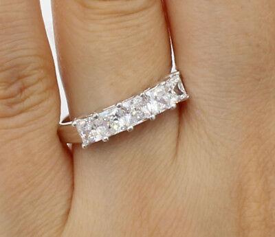 Diamond 14K White Gold Finish Eternity Engagement Wedding Band Ring 1//5 Ct Sim