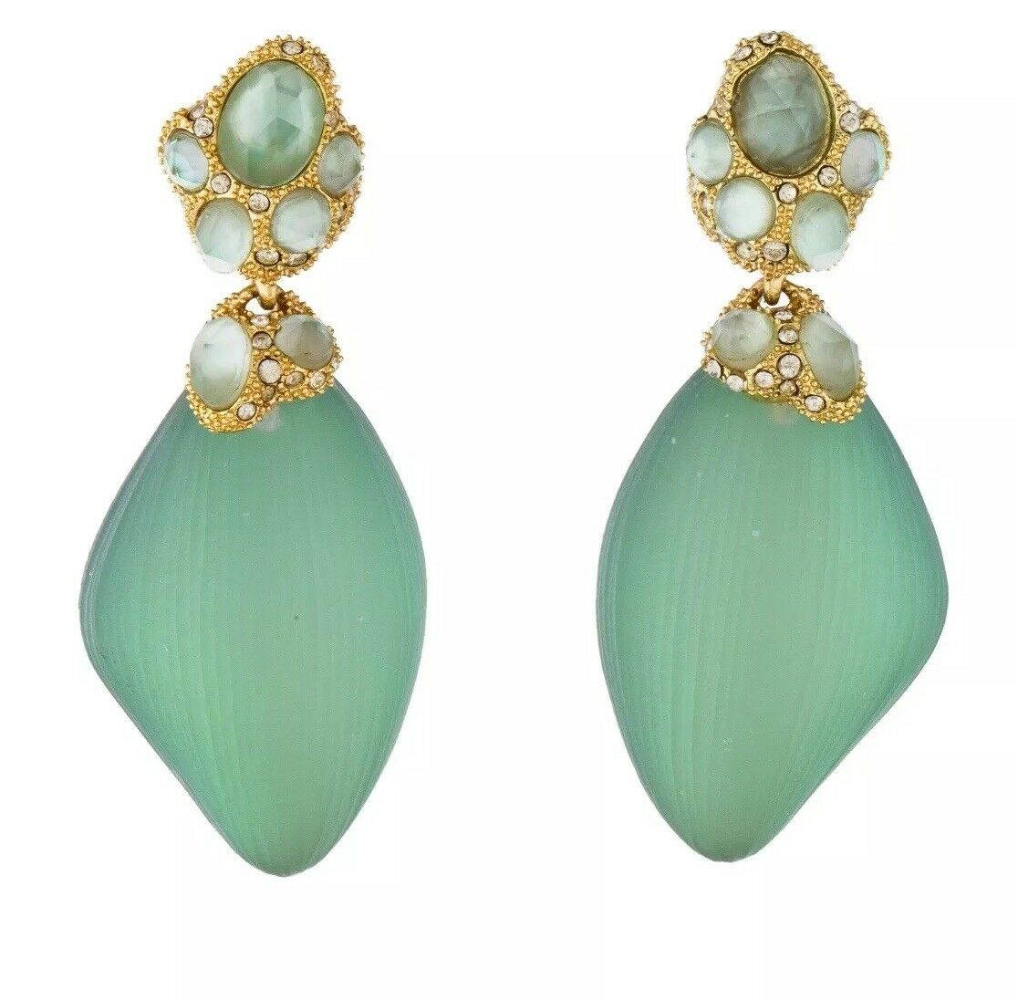 Gorgeous Alexis Bittar gold tone green Lucite and crystal earrings.   255