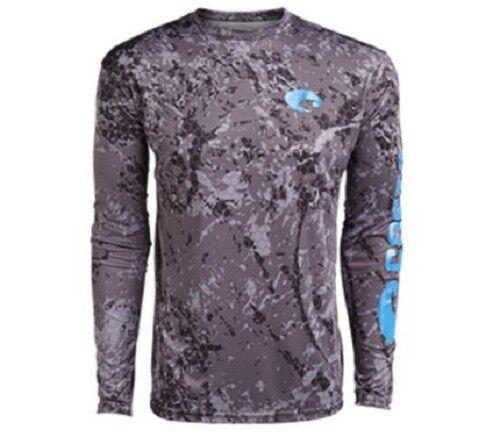 COSTA TECH Hex mimetico grigio uomoiche lunghe T Shirt  Tutte le taglie  Camicia Nuova da Pesca