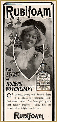 1900-09 1901 C Rubifoam Tooth Powder Modern Witchcraft Brooms Spider Web Secret Ad Relieving Rheumatism And Cold Merchandise & Memorabilia