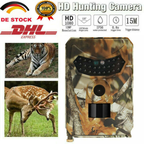 12M HD Wasserdicht Wildtier Kamera JagdKamera 1080P 12MP IR Nachtsicht PIR 120°