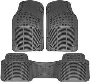 Car Floor Mats for Honda Civic 3pc Set All Weather Rubber Semi Custom Fit Grey