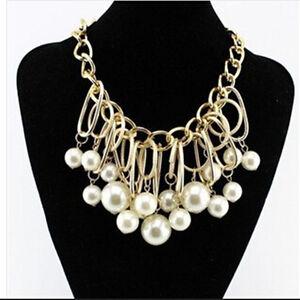 Bib Jewelry Women Pendant Statement Pearl Fashion Chain Necklace Chunky Collar