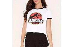 c5371db0b63 Forever 21 Women's Girl Ringer Crop Top Jurassic Park Graphic Tee ...