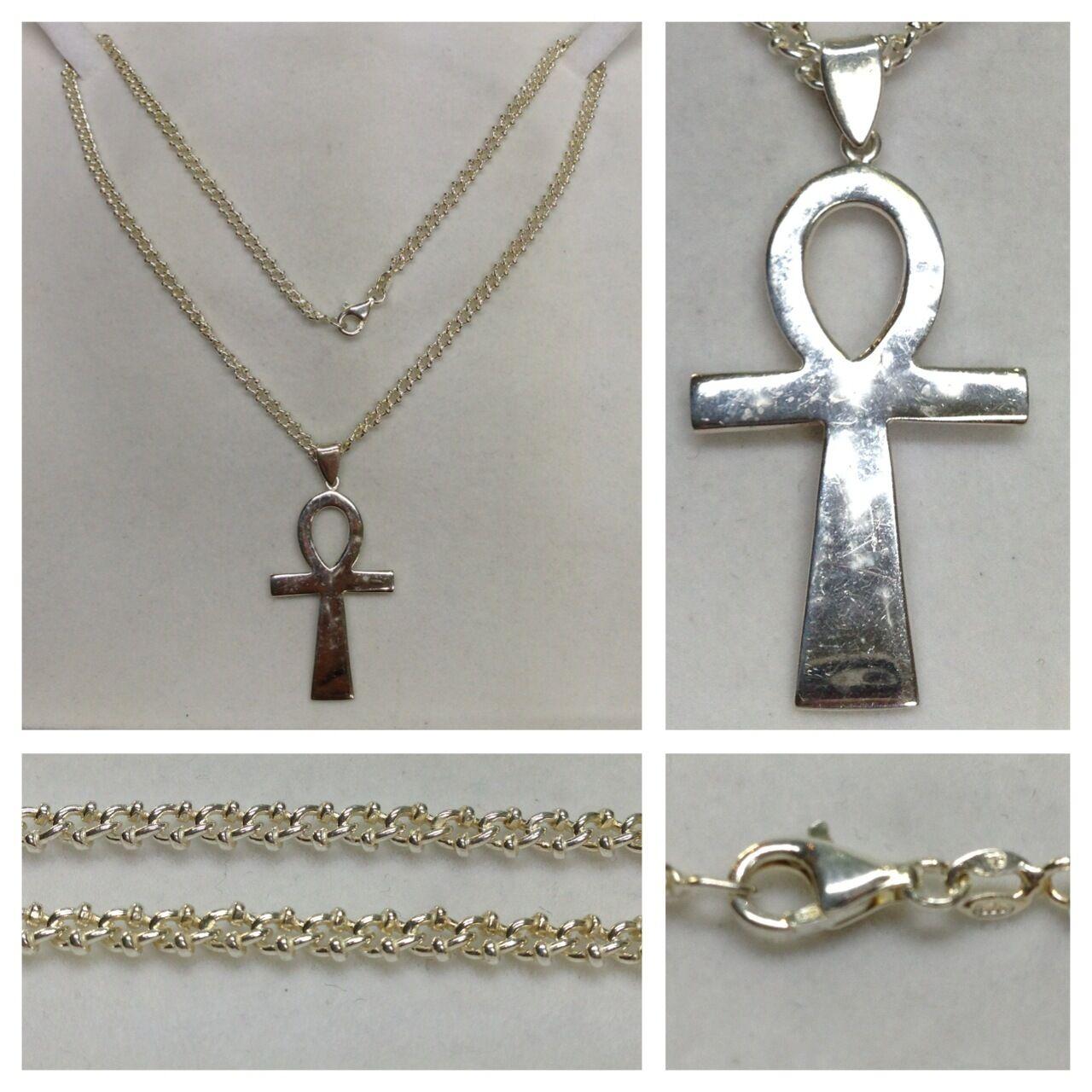 Ancho Collar Collar 925 silver Cadena de silver con Cruz Colgante Joyería silver