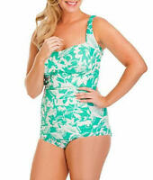 Suit Yourself Plus 16w Seafoam Ethnic Bloom tummy Thinner Swimsuit $95