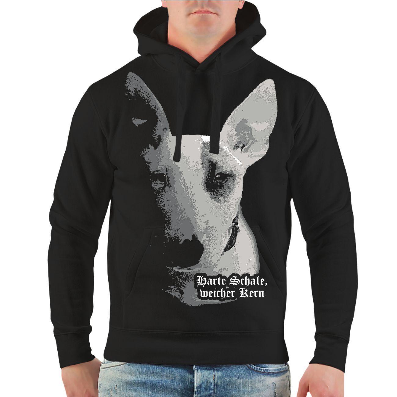 Kapuzenpullover Bullterrier harte Schale weicher Kern Rasse Spruch Hunde Hoodie