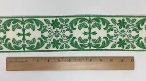 Vintage-Vestment-Verde-Cruz-en-Apagado-Blanco-8-3cm-Banda-Vendido-por-Patio