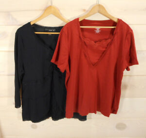 Lot-of-2-Venezia-Women-039-s-Sz-18-20-Knit-Tops-Lace-Detail-Black-Burnt-Orange