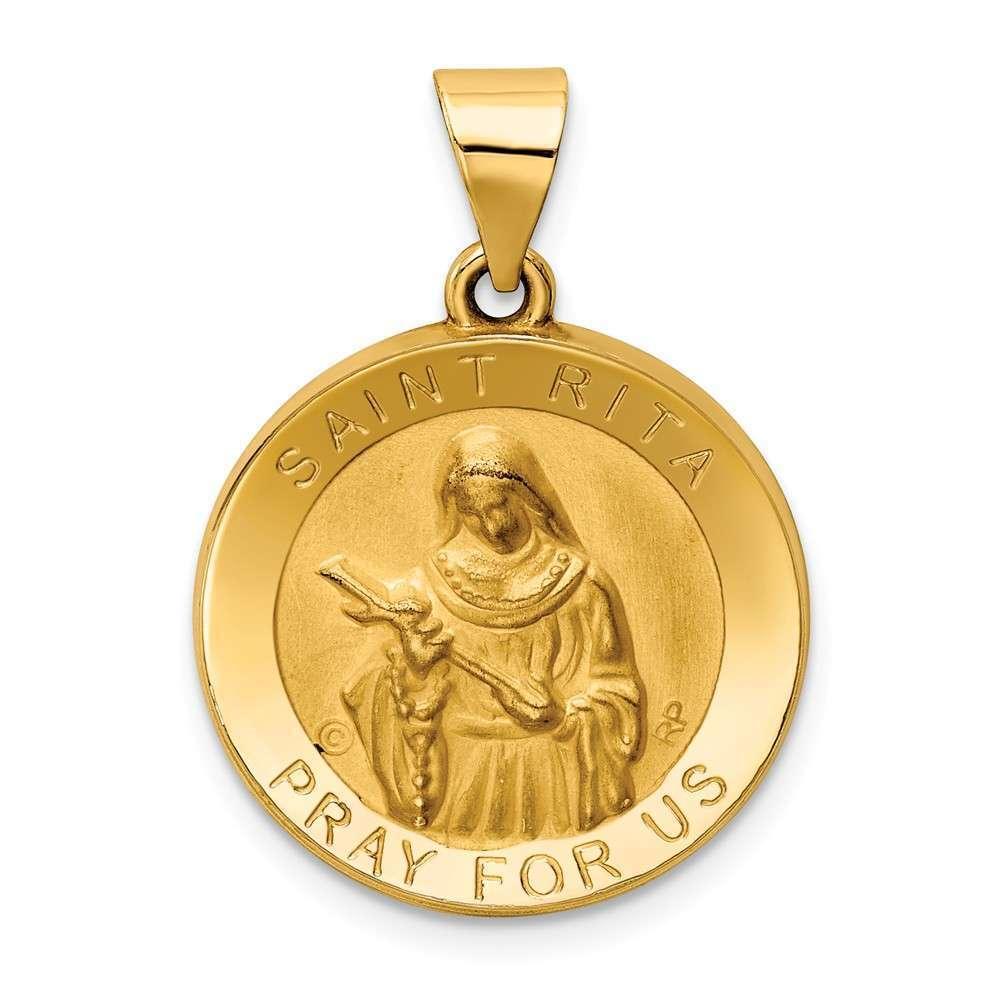 14K Yellow gold Polished & Satin St. Rita Hollow Medal Pendant