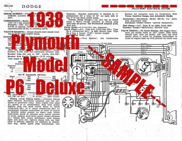 1938 Plymouth Model P6 Deluxe Full Car Wiring Diagram   Tune Up Data