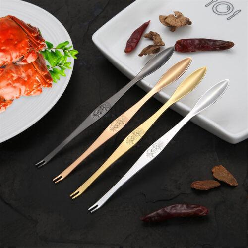 Delicate Stainless Steel Crab Forks Seafood Picks Lobster Forks Fruit ForksBLCA