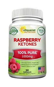 100% Pure Raspberry Ketones 1000mg - 180 Capsules - All Natural Weight Loss S...