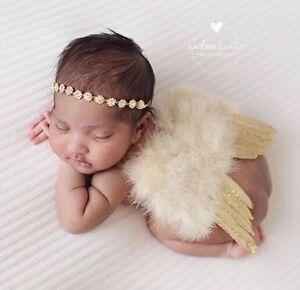 Girl Newborn Baby Gold Angel Wings And Gold Rhinestone Headband SET ... 328adbdc668