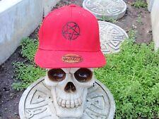pentagram black embroided red baseball hat slayer pagan death metal 666