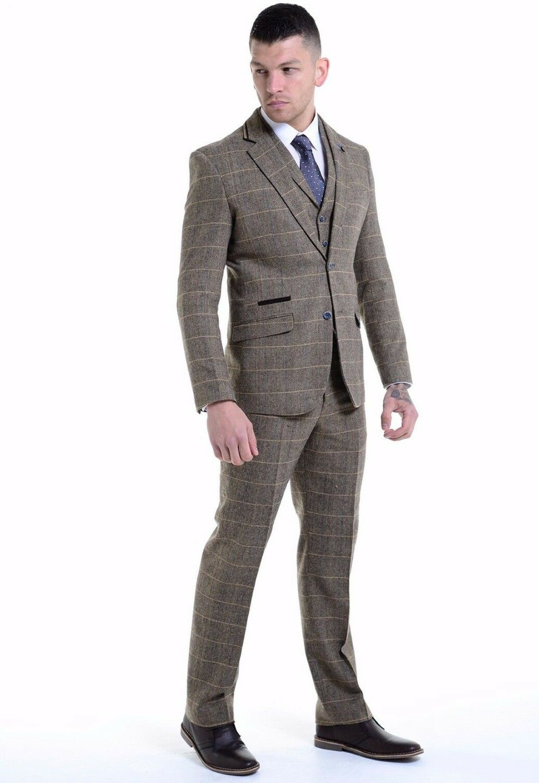 Cavani  Herren 3 Piece Tweed Formal Suit Blazer Waistcoat Trousers Sold Separately