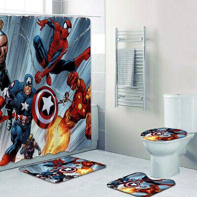 Avengers Bathroom Rugs Set 4PCS Shower Curtain Bath Mat ...