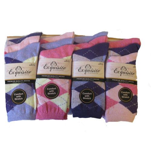 6//12 Ladies Premium Quality Designer Cotton Socks Comfort With Stretch Size 4-7