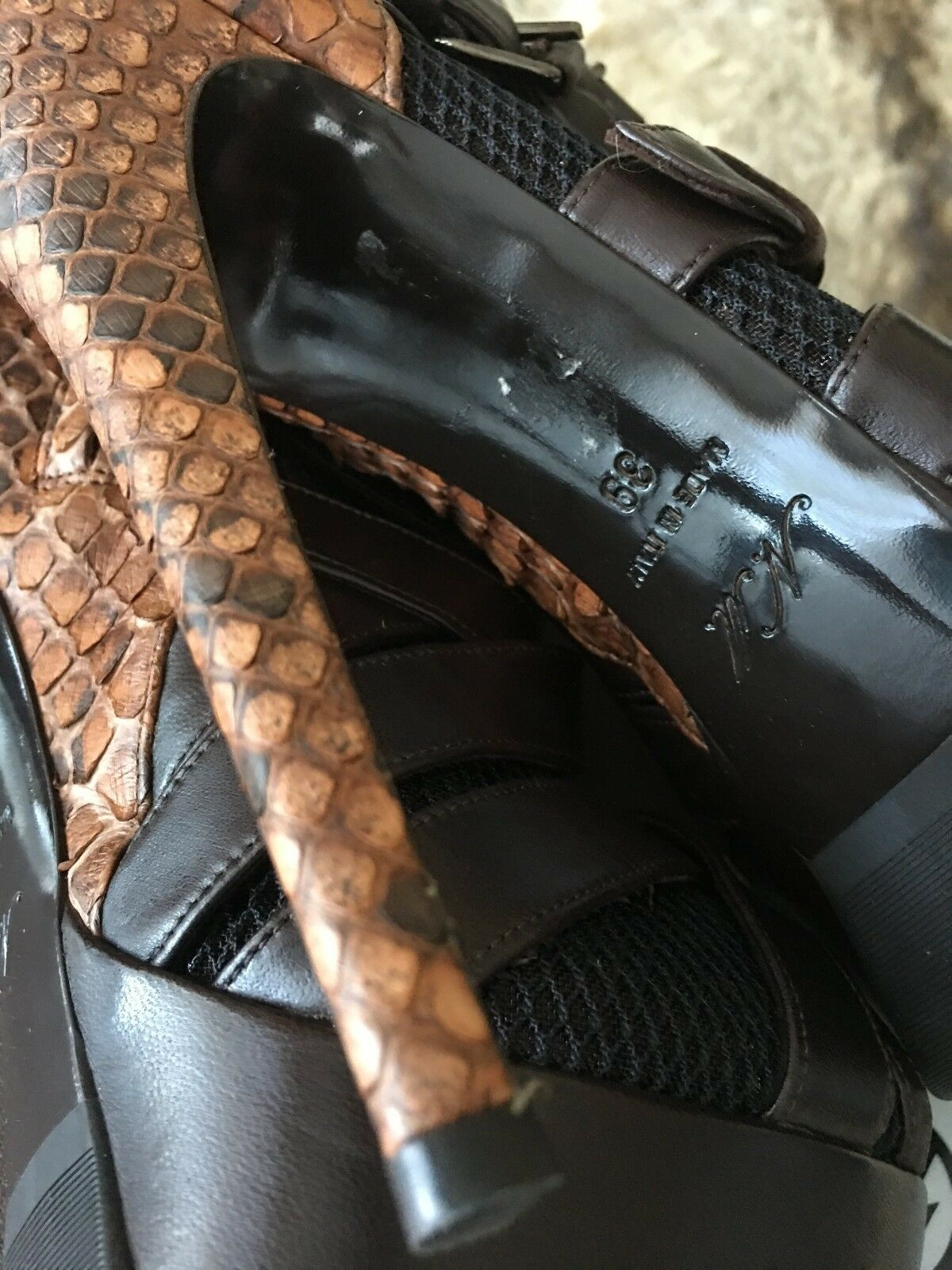 NANDO MUZI Combined Peep Toe Ankle Stiefel with Mesh, 6 Python and Buckles 39 UK 6 Mesh, 82bcfa