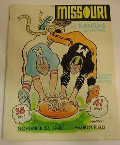 Old-Vintage-1980-Missouri-Tigers-vs-Kansas-Jayhawks-NCAA-Football-Program-KU-MU
