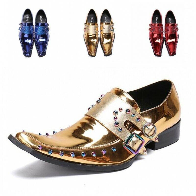 Leather Pointy Toe Rivet British Metal Trim Snakeskin Clubwear Men Dress scarpe