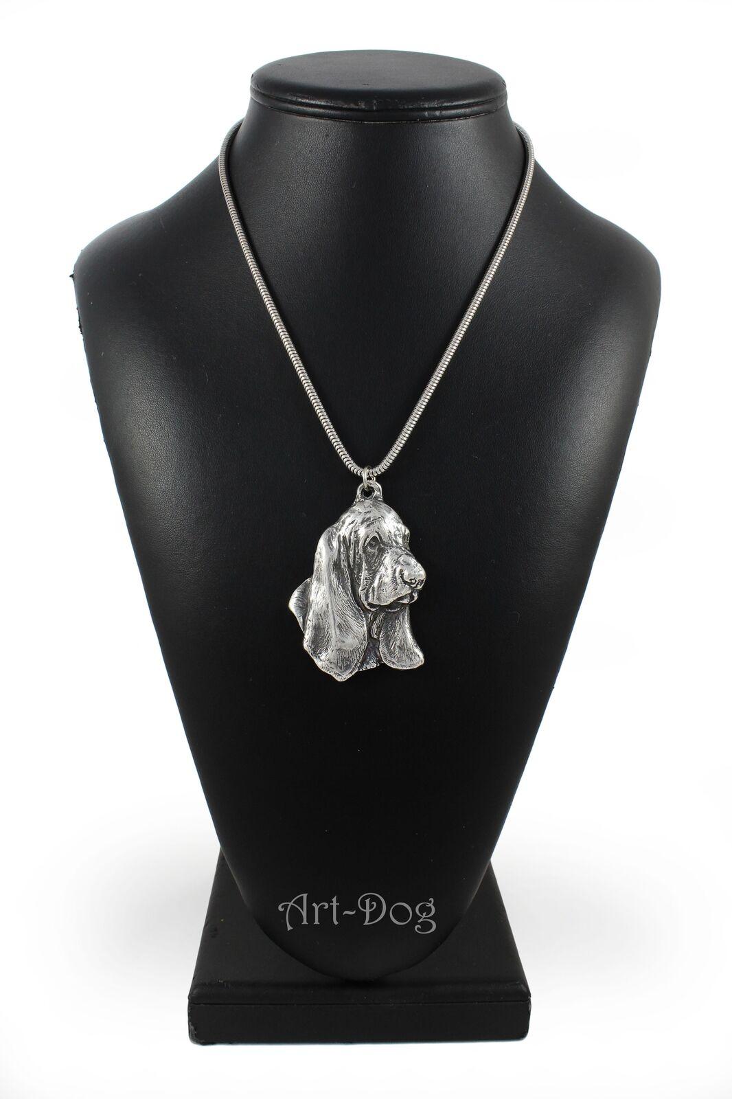 Basset Hound Hound Hound 3 - argento plaqué collier sur une cordon en argento Art Dog FR 431a85