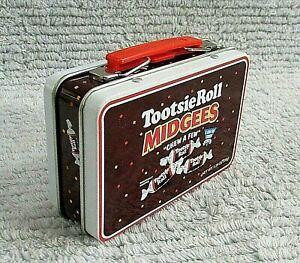 Tootsie Roll Midgees Empty Miniature 3x4 Brown Tin Metal Lunchbox FREE S/H