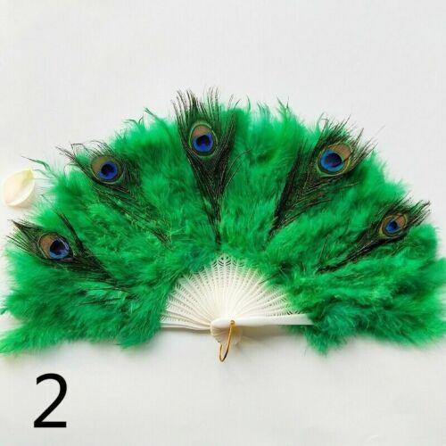 Nuovo Variopinto Pavone Marabù Piume Ventaglio Danza Pieghevole Vintage Costume
