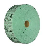 Raffle Tickets 2000 Per Roll 50/50: Green Free Shipping