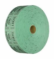Raffle Tickets 2000 Per Roll 50/50: Green Free Shipping