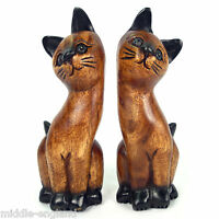Set/2 Twin Cat Sculptures 20cm Tall Solid Acacia Wood Carving Animal Ornament
