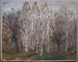 Russian Ukrainian Soviet Oil Painting landscape impressionism birch trees