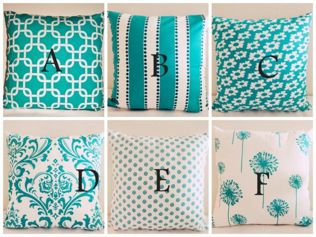 """True Turquoise Gotcha, Floral, stripe 18x18"""" inch Home Accent Pillow Cover Case"""