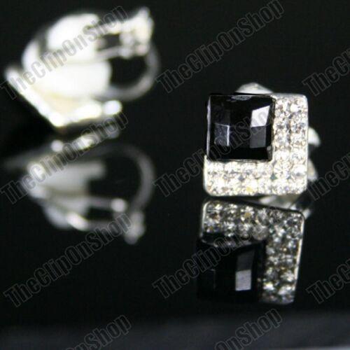 CLIP ON art deco crystal studs BLACK SQUARE EARRINGS silver rhinestone vintage