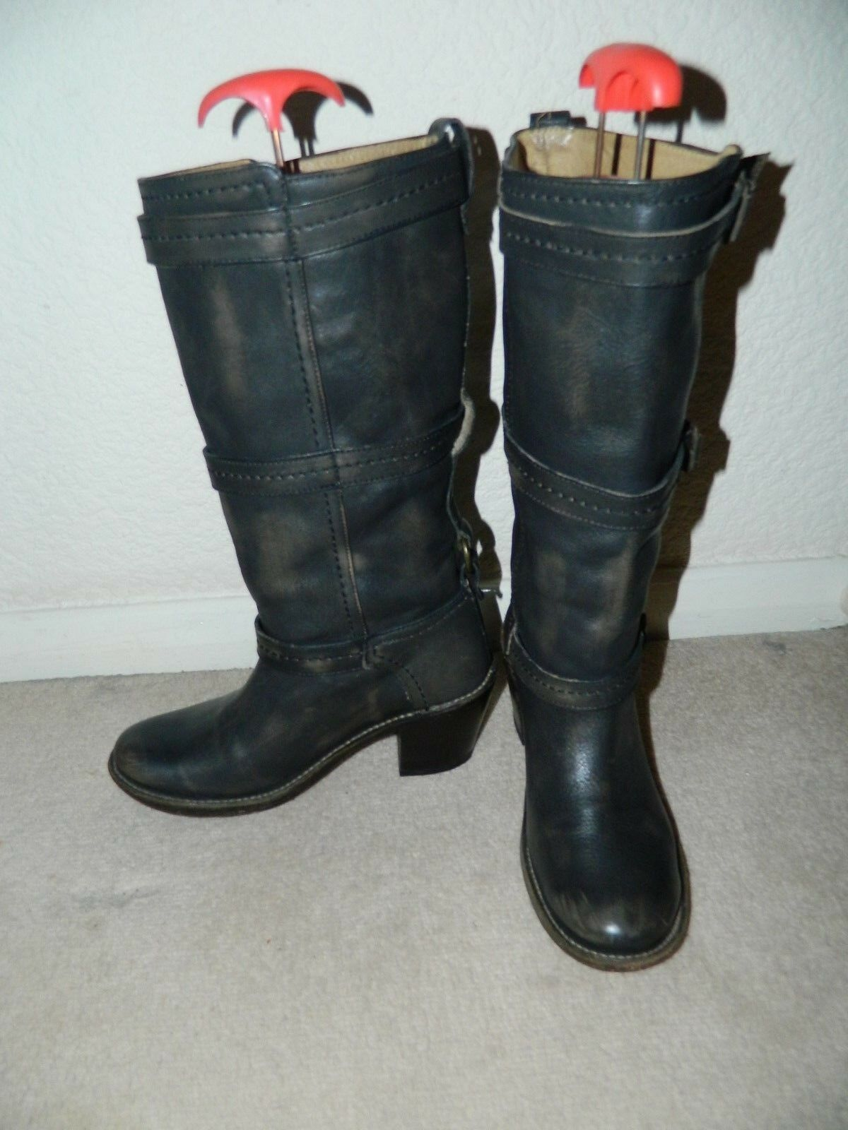 FRYE Slate Grey boots UK 5.5 USA 7.5 pull on Distressed leather three straps