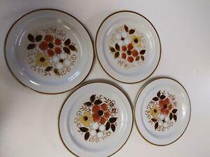 4-Vintage-034-Linda-034-Salad-Plates-Stoneware-By-Excel-Set-of-4-Floral-Pattern