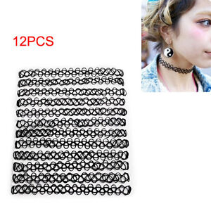 12-Pcs-pack-Vintage-Women-Tattoo-Rainbow-Chokers-Necklace-Stretch-Elastic-Superb