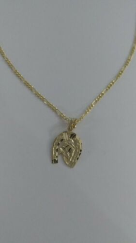 Details about  /14K Solid Gold Horse Shoe Pendant With Figaro Necklace Horse Shoe Horse face