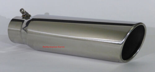 """Stainless Steel Exhaust Tip Angle Cut 3/"""" Inlet 15/"""" Long 4/"""" Outlet"""