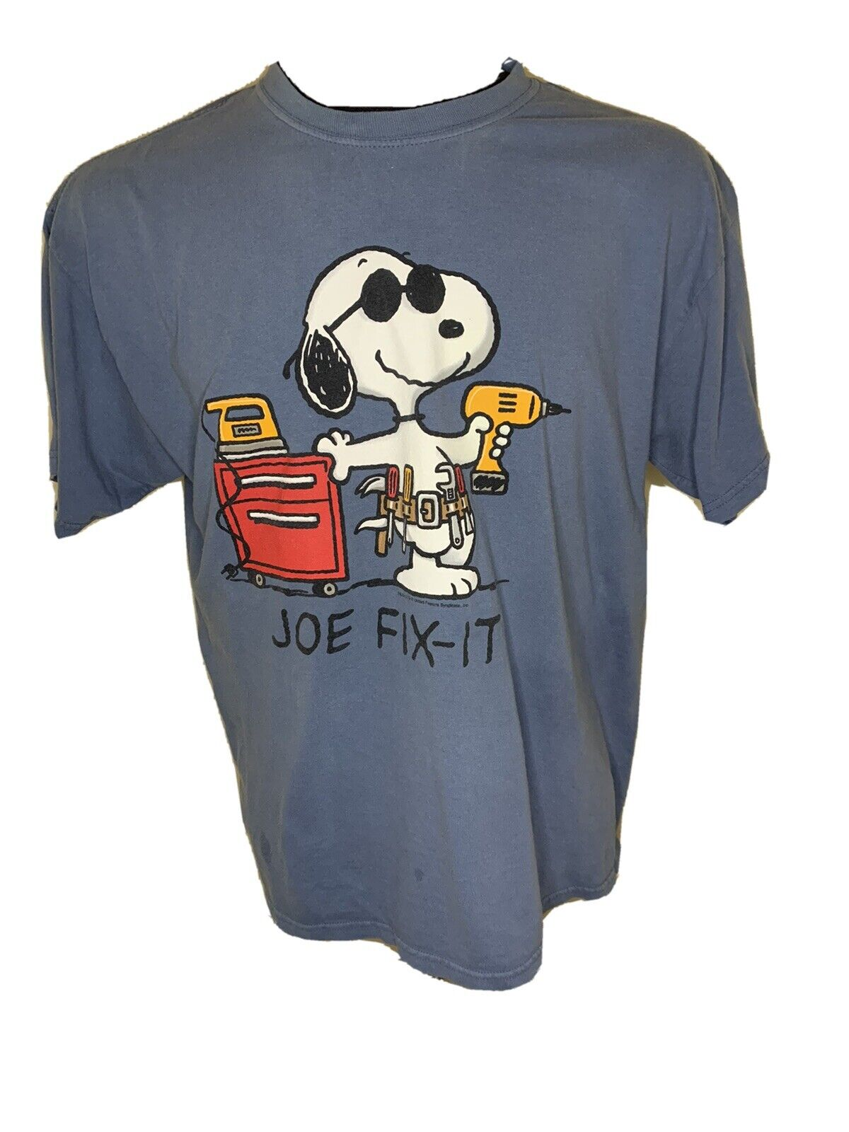 $115 Peanuts Men/'S Blue Snoopy Graphic Short-Sleeve Crew-Neck Top T-Shirt L