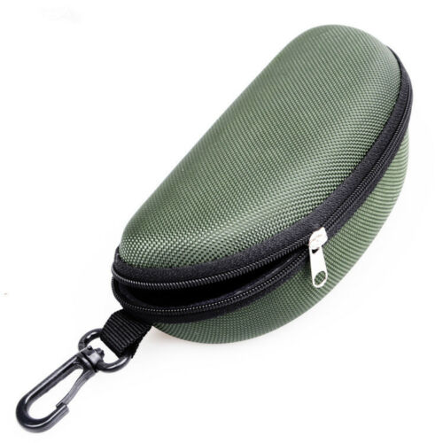 Portable Zipper Eye Glasses Clam Shell Sunglasses Hard Case Box Protector Holder