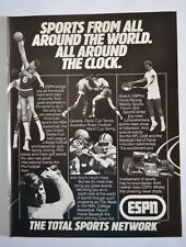 1983 ESPN ~ Total Sports TV Network ~ Football Boxing Tennis ~ Vintage Print Ad