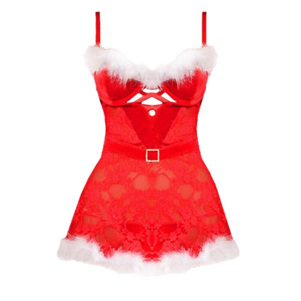 s l1600 - Navidad Ropa Interior Mujer Sexy Lencería Babydoll Dormir Vestido Rojo Disfraz