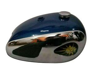 Fits BSA A7 A10 Super Rocket Blue Fuel Tank Chromed +Cap & Knee Pad ECs
