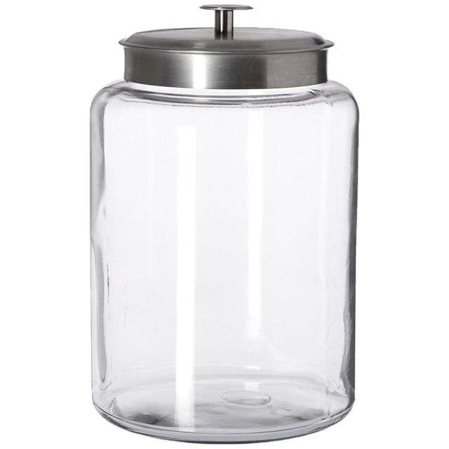 Penny Glass Jar 2 Pack Metal Lid Cover Counter Display 1Gal Pantry Storage Candy