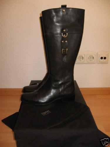 Neu ESPRIT Leder Gr.  40 Stiefel Hochschaft Boot Schuhe NP  Gr. NEU ac4543