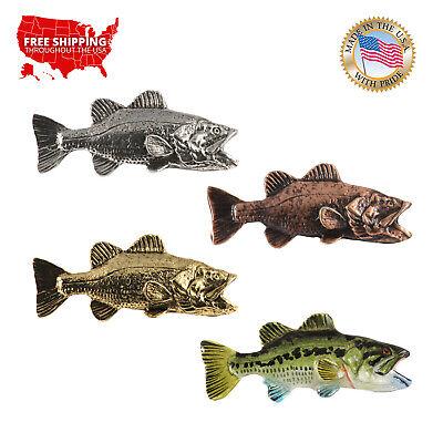 Jewelry Largemouth Bass Fish Freshwater Fish Pewter Lapel Pin Brooch F082