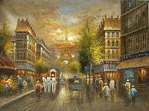 Oil painting Paris Street Scene impressionism landscape & Eiffel Tower in France