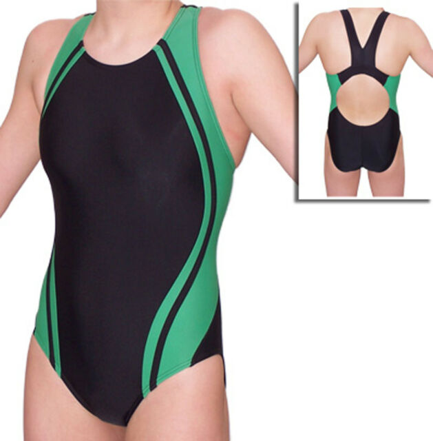 Women Green Splice Competition Swimsuit Sizes 22 - 40